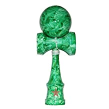 Full Marble Green Shinny Super Kendama, Super Sticky, Japanese Wooden Toy, Free String, USA Seller