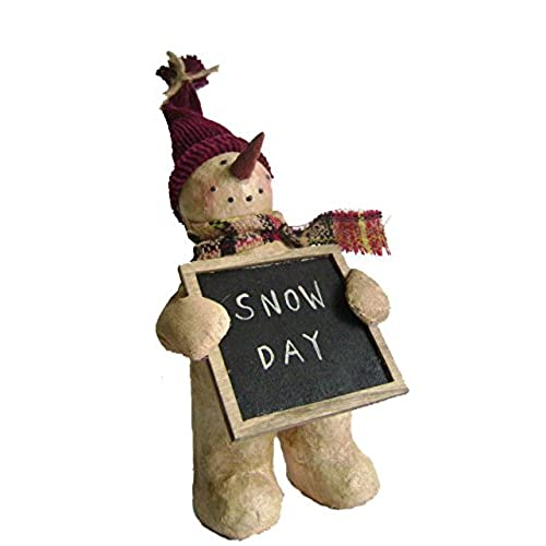 Craft Outlet Papier Mache Snowman With Snow Day Chalkboard Figurine 9 Inch
