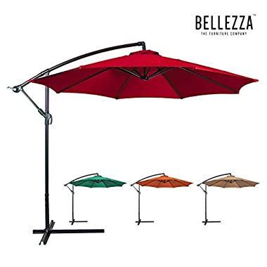 Belleze Outdoor Patio Umbrella 10' feet Tilt W/ Crank Water-Proof Polyester Cantilever, Burgundy