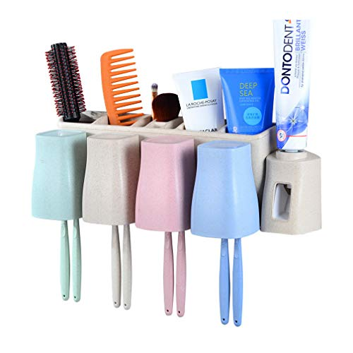 Dispenser Toothbrush Toothpaste (Atongham Toothbrush Holder Set No Drill Wall Mount Toothpaste Dispenser and Multi-Functional Slots Bathroom Organizer with Water Drainer)