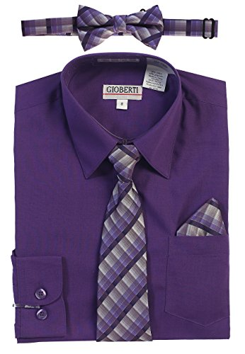Gioberti Boy's Long Sleeve Dress Shirt and Plaid Tie Set, Purple B, Size - Shirt Purple Dress Boys