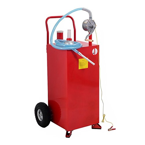 Gas Caddy (Goplus 30 Gallon Gas Caddy Tank Storage Gasoline Fluid Diesel Drum Barrel Carrier Pump w/Wheels)