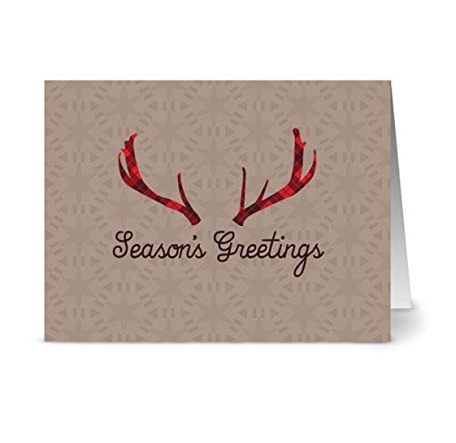 - Holiday Antlers - 36 Holiday Note Cards - Blank Cards - Kraft Envelopes Included