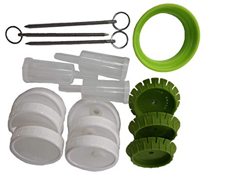 3 PicklePusher small batch fermentation kits. Complete with airlock & weight replacement. BPA free. Holds 25X more than fermenting weights. Fits widemouth mason jars not included