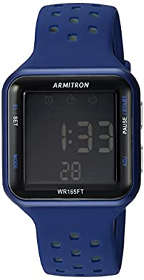 Armitron Sport Unisex 40/8417BLU Grey Accented Digital Chronograph Blue Perforated Silicone Strap Watch