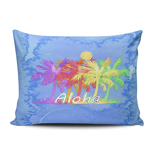 Flowers Blue Hawaiin (Fanaing Bedroom Custom Decor Hawaiin Aloha Palm Tree Watercolors Pillowcase Soft Zippered Blue Throw Pillow Cover Cushion Case Fashion Design One-Side Printed Boudoir 12X18 Inches)