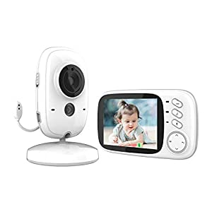 GeekMe Wireless Video Baby Monitor with Camera and Audio, 3.2 inch LCD Screen, Infrared Night Vision, Temperature…