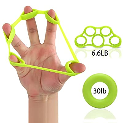 Hand Strengthener Finger Stretcher Hand Resistance Bands Hand Extensor Set Silicone Hand Grip Trainer Rings Finger Exerciser Workout For Sports, Physical Rehabilitation and Musicians-2Pcs Included