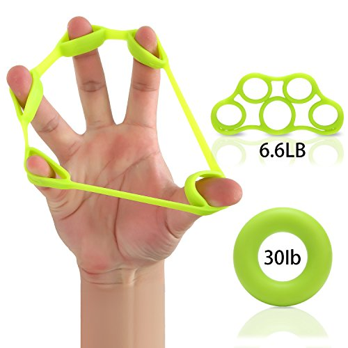Finger Stretcher Hand Resistance Grip Silicone Rings Bands Hand Extensor Set Strength Trainer For Golf Grip, Guitar Finger, Forearm Exercise, Cycling, Climbing, Prevention And Rehab-2 (Rehab Trainer)