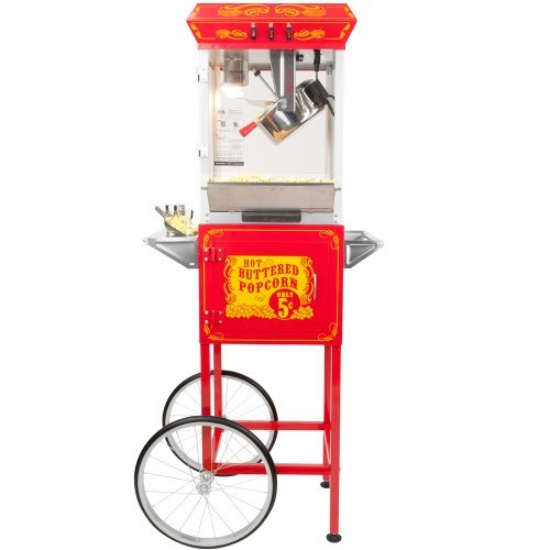 Funtime Sideshow Popper 8-Ounce Hot Oil Popcorn Machine with Cart, Red Silver