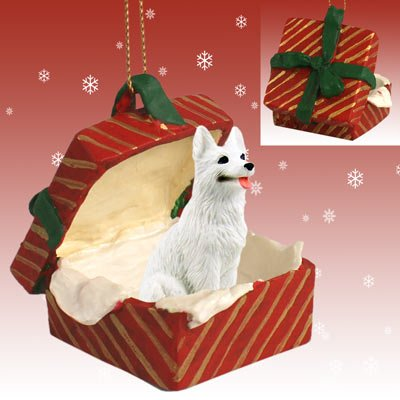 White German Shepherd Red Gift Box Christmas Ornament by Conversation Concepts (Box Red Gift Shepherd)
