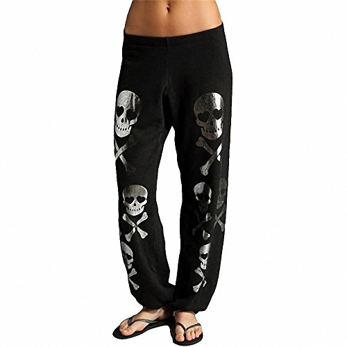Melory Women's Sexy Black Yoga Pants Hip Hop Skull Pattern Trousers Full Length Baggy Harem Pants Sweatpants (Skull Sweatpants)