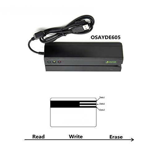 IT OSAYDE 605 Magnetic Card Reader, 3 Tracks Writer Encoder Scanner, Free Software to Install, Easily Use for Credit Card, Debit Card, Gift Card All Magnetic Swipe Card