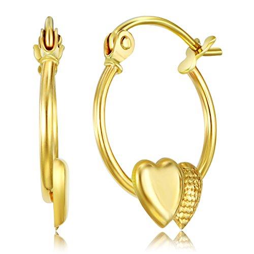 14k Yellow Gold Fancy Double Heart Hoop Earrings (12 x 12mm)
