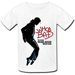 QM Ultimate Michael Jackson Tribute Band Who's Bad T Shirt For Big Boys'Girls' White M