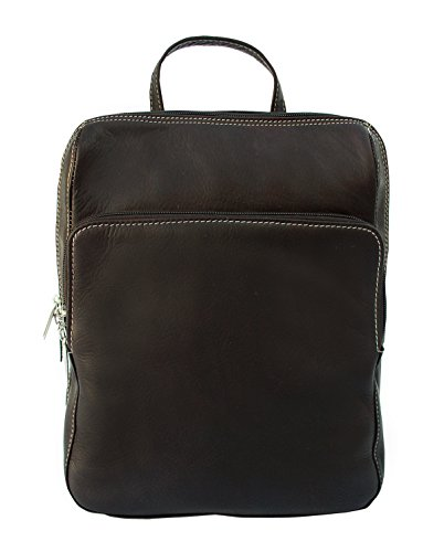 Piel Leather Slim Front Pocket Backpack in Chocolate