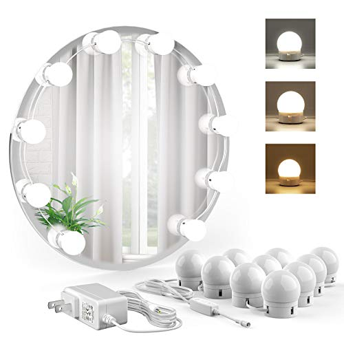 (Onforu Vanity Mirror Lights Kit, 3 Colors Hollywood Style Lighting Fixture Strip with 10 Dimmable Bulbs, LED Makeup Mirror Lights Kit for Vanity Table Set, Bathroom, Dressing Room)