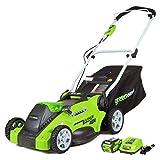 GreenWorks 25322 Lawn Mower, 16in Battery Included (Renewed)