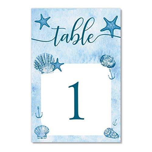 (Blue Ocean Table Numbers 25 Pack Reserved Seats Beach Nautical Theme Event Décor Single Sided 4