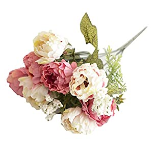 Aland 1Pc Artificial Flower Peony Home Garden Stage Wedding Arrangement Party Decor 8 Small Peony Flower Artificial Flowers Home Decoration Peony Flower Artificial Flowers Rose Red 62