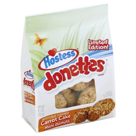 Hostess Donettes Carrot Cake Mini Donuts Limited Edition (2 qty)- 9.5oz Bags