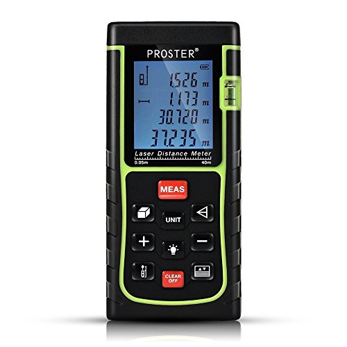 Laser Distance Meters, Proster Digital Laser Distance Measuring Tool with Bubble Level and Backlit LCD, Up to