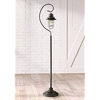 Ulysses Industrial Lantern Floor Lamp Oil Rubbed Bronze Metal Cage Dimmable LED Antique Edison Bulb for Living Room Reading - Franklin Iron Works