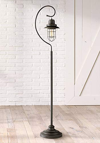 Ulysses Industrial Lantern Floor Lamp Oil Rubbed Bronze Metal Cage Dimmable LED Edison Bulb for Living Room Reading - Franklin Iron Works