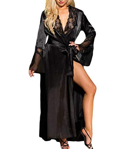 Womens Lace Trim Kimonos Robes Long Satin Dressing Gown Bathrobe Sleepwear Loungewear (M, Black 2)