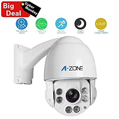 A-ZONE Security Camera PTZ 1080P HD IP Mini PTZ Dome Camera 10X Optical Zoom Outdoor 360 Cameras Dome Medium Speed Outdoor Cameras from debest