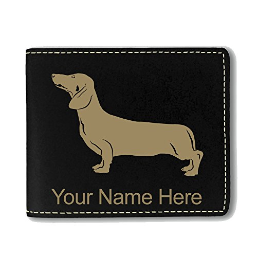 Dachshund Wallet (Faux Leather Wallet - Dachshund Dog - Personalized Engraving Included (Black))