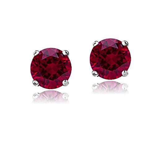 Round Ruby Solitaire (Bria lou 14k White Gold Round-Cut Created Ruby 6mm Solitaire Gemstone Stud Earrings (1.8ct TGW))