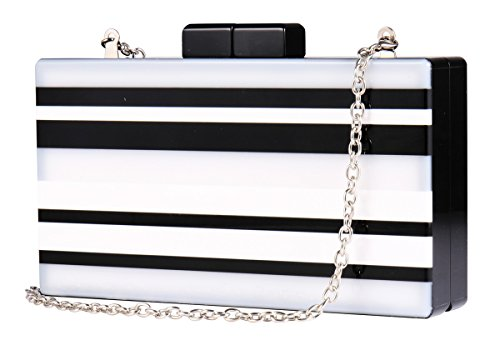 Elegant Acrylic Clutch Box Purse Bags Black and white Resin Clutches Handbags for (Black Striped Handbag)