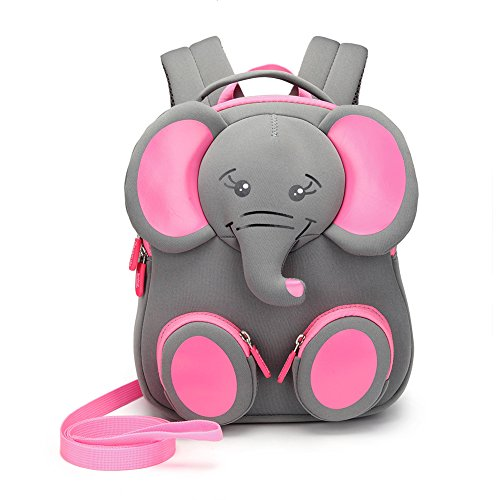 Cute Toddler Kids Backpack With Anti Lost Leash And Name Label Waterproof Lightweight 3D Animal Cartoon Mini Preschool Baby Bag For Girls Boys,Elephant,Onesize by WSDE