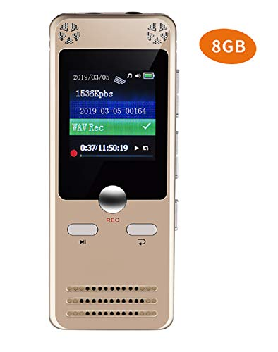 Voice Memo Camera - Digital Voice Recorder 8GB Voice Activated Recorder Dictaphone with MP3 Player, 1536Kbps Noise Reduction Audio Microphone for Lectures, USB, Rechargeable, Meetings, Interviews