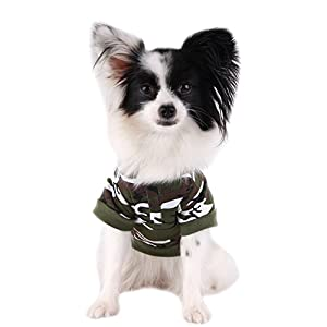 FuzzyGreen Cutest Camouflage Dog Sweaters, Camouflage Dog Sweaters Fashion Green Camouflage Pattern Pet Dog Puppy Hoodie Sweater Clothes Costume Apparel Size XS
