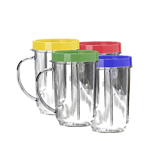 Lutema Replacement Juicer Cups 16oz. - Party Cup Mugs Compatible with Original Magic Bullet ... (4 Pack)