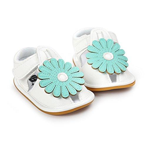Pueri Verde Sandalias de los bebés del verano Zapatos infantiles de la flor Margarita Diseño hermoso Ligero y cómodo Verde