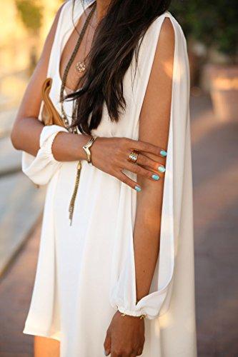 Cortos Playa Vestido Manga Suelto Color Mini Sólido NiSeng Blanco Tamaño Larga Camisa Verano Mujeres Gasa Vestir Dobladillo Irregular De Del Casual Vestidos Gran 4nnTU8a