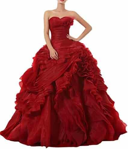 911fdc3bbd9 Dreammade Women s Sweetheart Sleeveless Ruffles Ball Gown Wedding Dresses