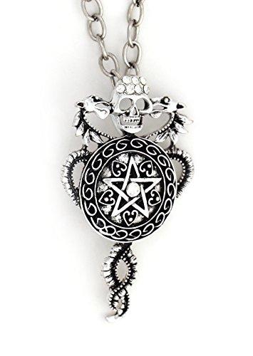 (Magic Metal Kundalini Pentagram Necklace Silver Tone Skull NS34 Pentacle Dragons Crystal Star Pendant Jewelry)