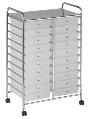 ECR4Kids 20 Drawer Mobile Organizer, White ()