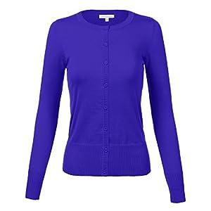 Luna Flower Women's Plus Size Basic Button End Crew Neck Long Sleeve Solid Sweater Cardigans ROYAL 3XL
