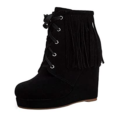 JOJONUNU Women Classic Fringe Boots Party Wedge Heels Lace Up Platform High Heel Ankle Booties Black Size 34 Asian