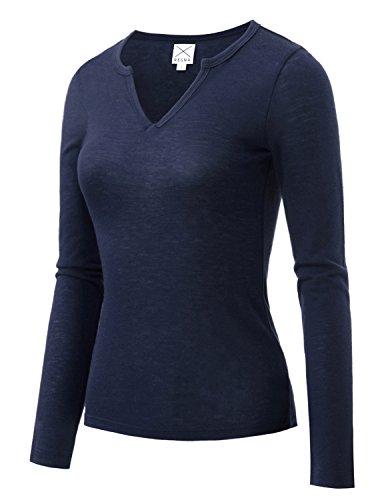 REGNA X BOHO Long Sleeve Women's slim fit v-neck warm small navy base layer top