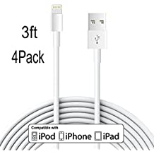 Frieso LLL79 3' 8 Pin Lightning To USB Data Cable Sync And Charging Cord Wire For IPhone SE,6s Plus, 6s, 6 Plus, 6, 5s, 5c, 5, IPad Air, IPad Mini, IPod Touch, White, 4 Piece