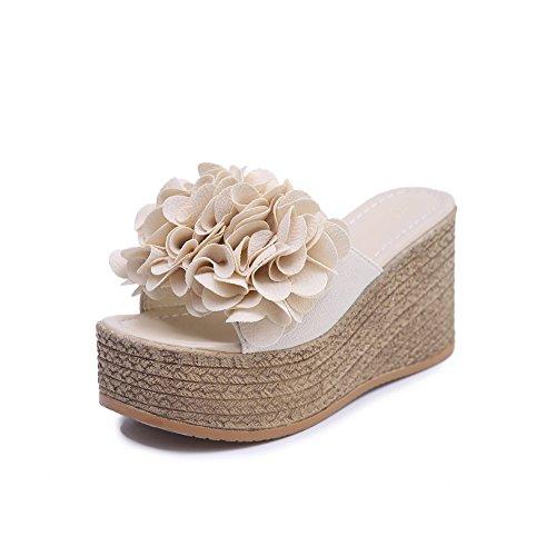 fereshte Women's Suede Peep Toe Open Back Platform Flatform Shoes Wedge Heel Summer Slippers Off white