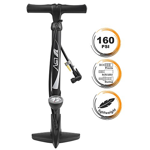 BV Bicycle Floor Pump with Large Gauge, 160 PSI, Reversible Presta & Schrader Valve with with Thumb-lock Lever