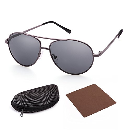 LotFancy Aviator Sunglasses for Kids Girls Boys, Matte Gun Metal Frame, Grey Lens, Sunglass Case - Sunglasses 50mm Size