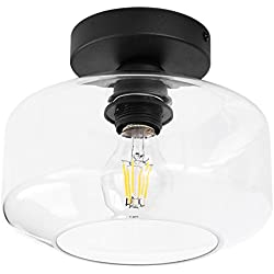Industrial Ceiling Light Fixture with Clear Glass Shade simi-Flush for Dining Room, Bedroom, Cafe, Bar, Corridor, Hallway, Entryway, Passway
